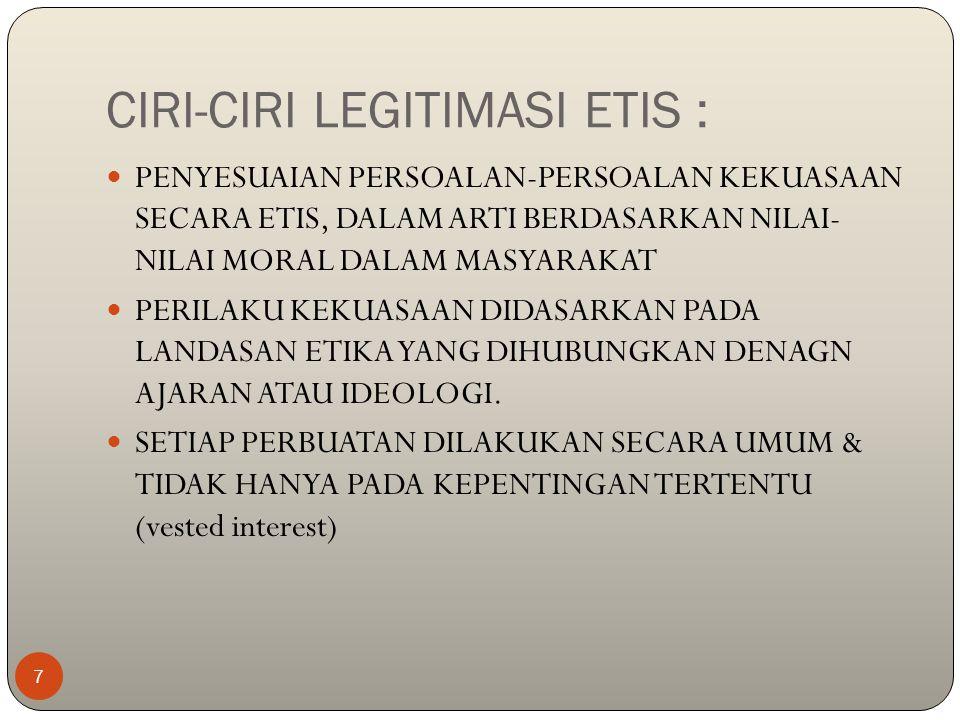 CIRI-CIRI LEGITIMASI ETIS :