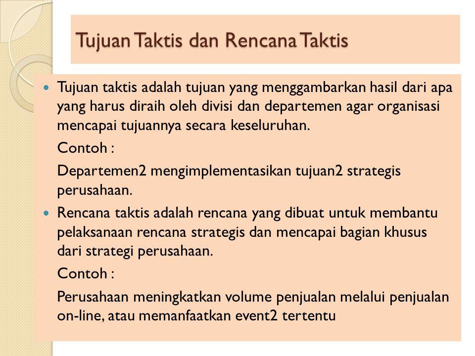 Tujuan Taktis dan Rencana Taktis