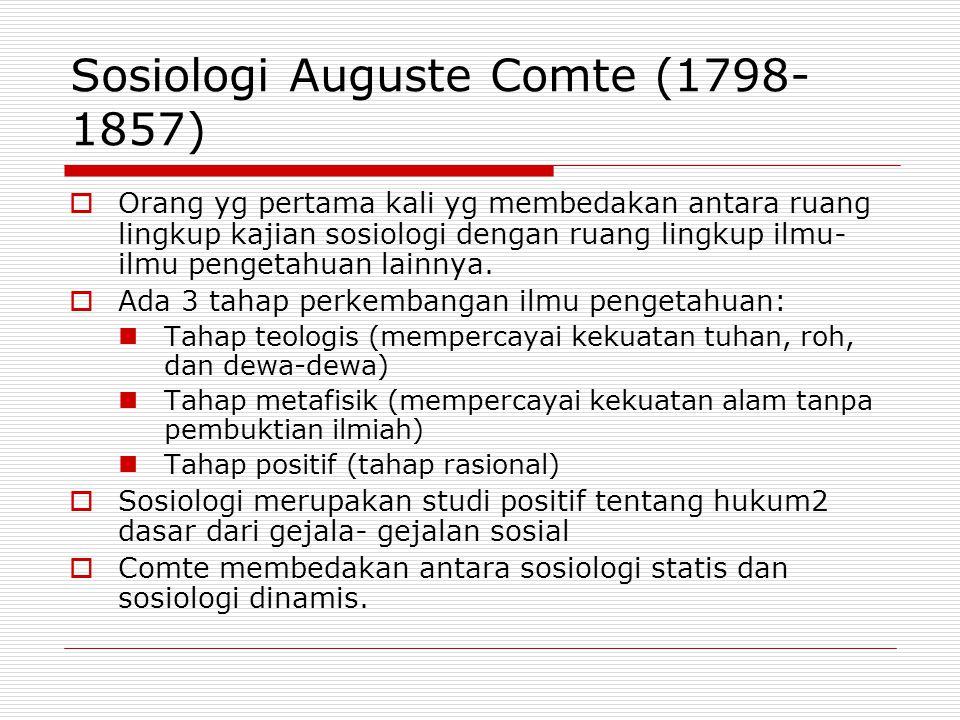 Sosiologi Auguste Comte (1798-1857)