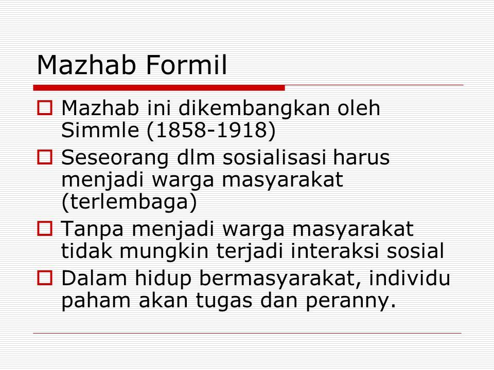 Mazhab Formil Mazhab ini dikembangkan oleh Simmle (1858-1918)