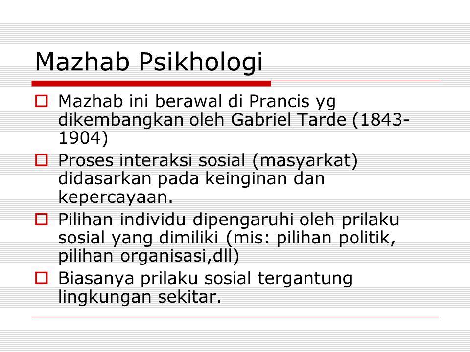 Mazhab Psikhologi Mazhab ini berawal di Prancis yg dikembangkan oleh Gabriel Tarde (1843-1904)