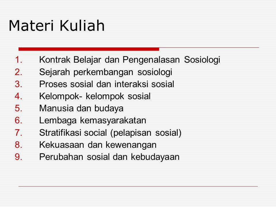 Materi Kuliah Kontrak Belajar dan Pengenalasan Sosiologi