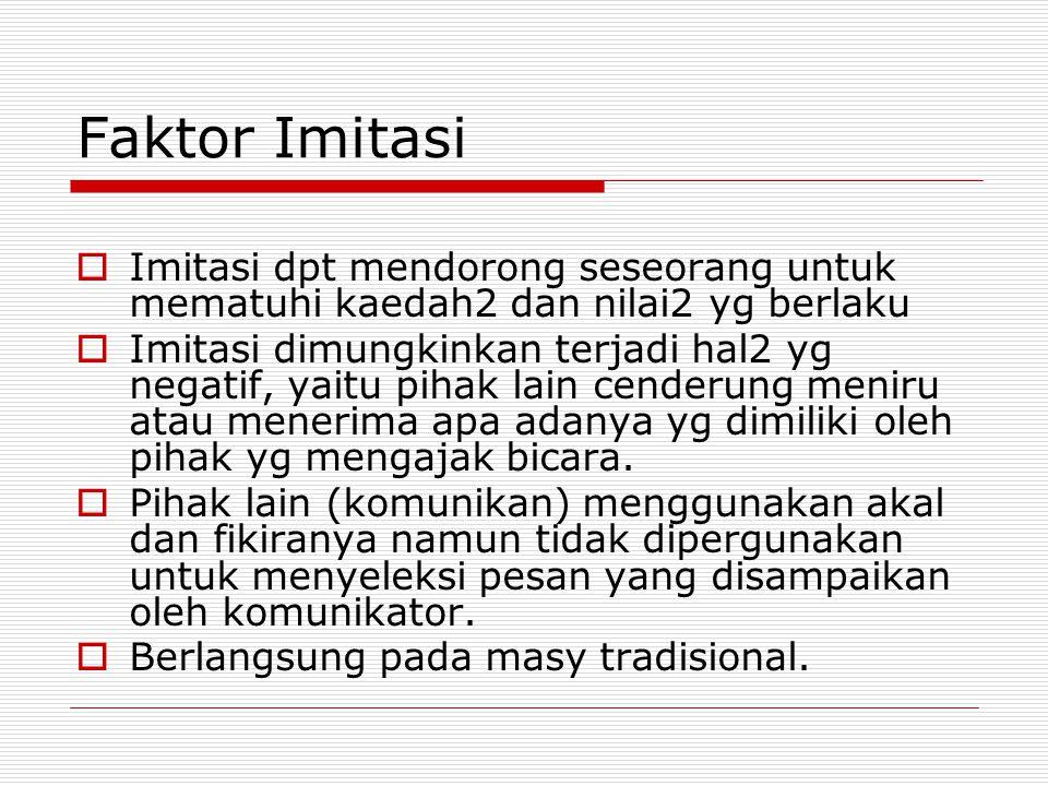 Faktor Imitasi Imitasi dpt mendorong seseorang untuk mematuhi kaedah2 dan nilai2 yg berlaku.
