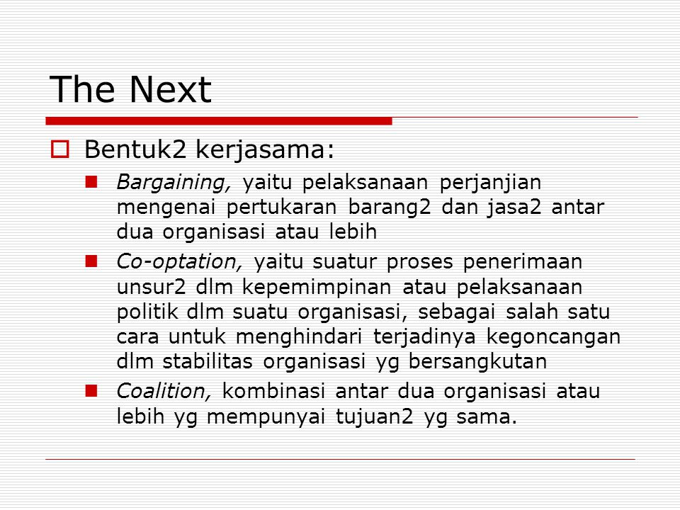 The Next Bentuk2 kerjasama: