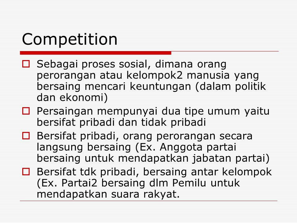 Competition Sebagai proses sosial, dimana orang perorangan atau kelompok2 manusia yang bersaing mencari keuntungan (dalam politik dan ekonomi)