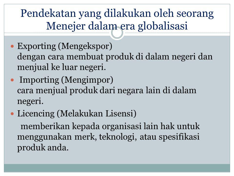 Pendekatan yang dilakukan oleh seorang Menejer dalam era globalisasi