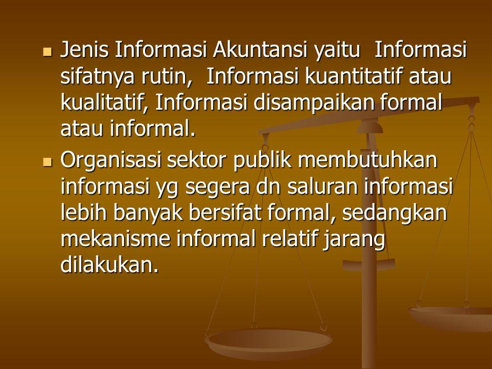Jenis Informasi Akuntansi yaitu Informasi sifatnya rutin, Informasi kuantitatif atau kualitatif, Informasi disampaikan formal atau informal.