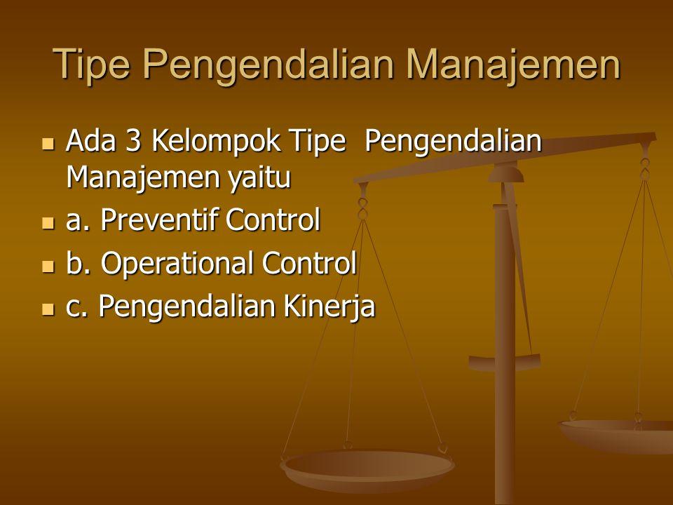 Tipe Pengendalian Manajemen