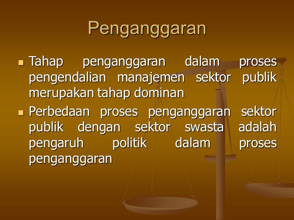 Penganggaran Tahap penganggaran dalam proses pengendalian manajemen sektor publik merupakan tahap dominan.