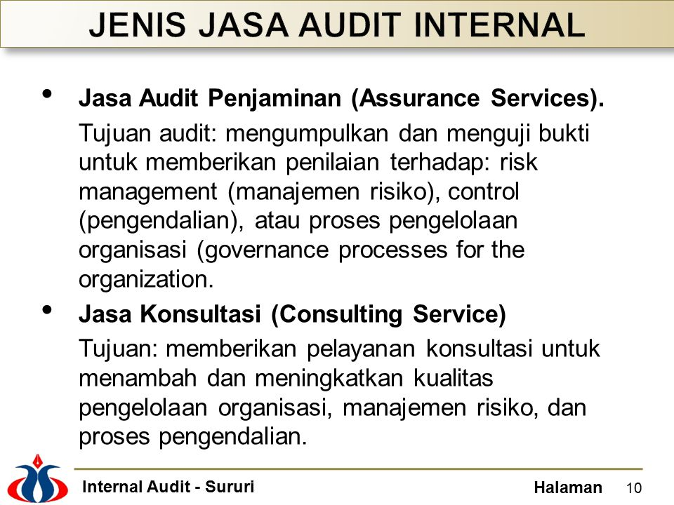 JENIS JASA AUDIT INTERNAL