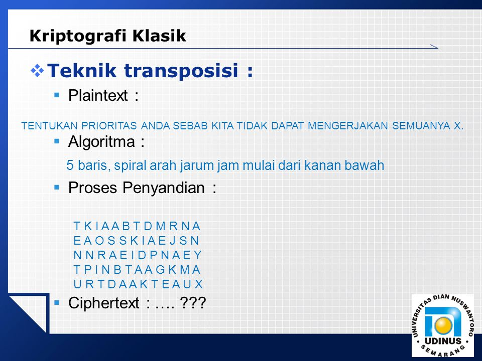 Teknik transposisi : Kriptografi Klasik Plaintext : Algoritma :