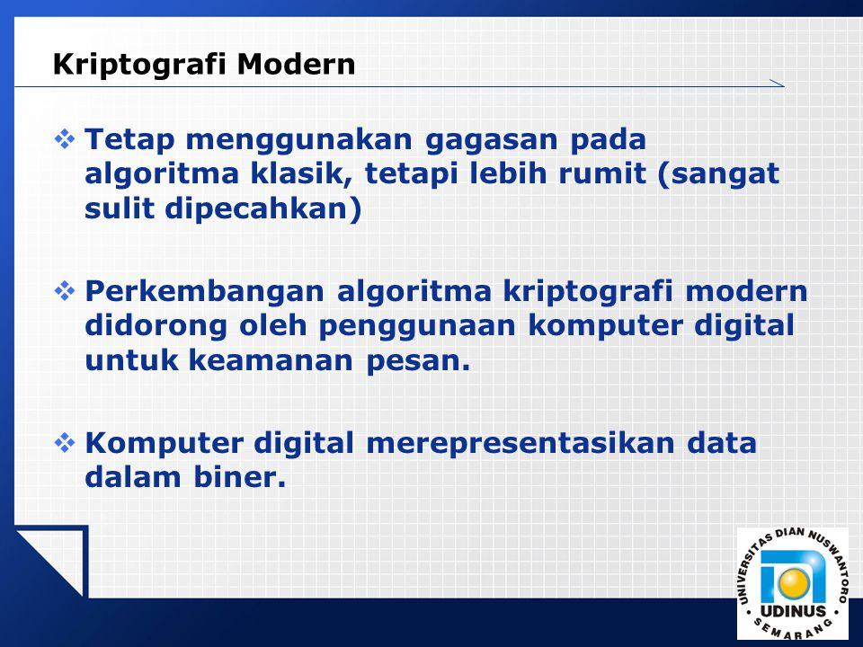 Kriptografi Modern Tetap menggunakan gagasan pada algoritma klasik, tetapi lebih rumit (sangat sulit dipecahkan)