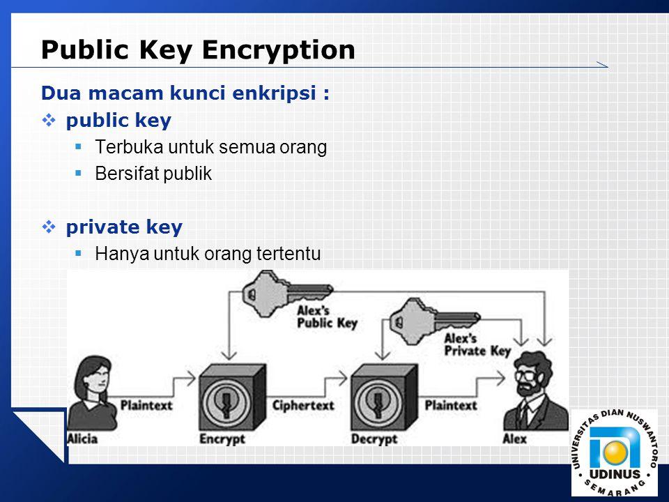 Public Key Encryption Dua macam kunci enkripsi : public key