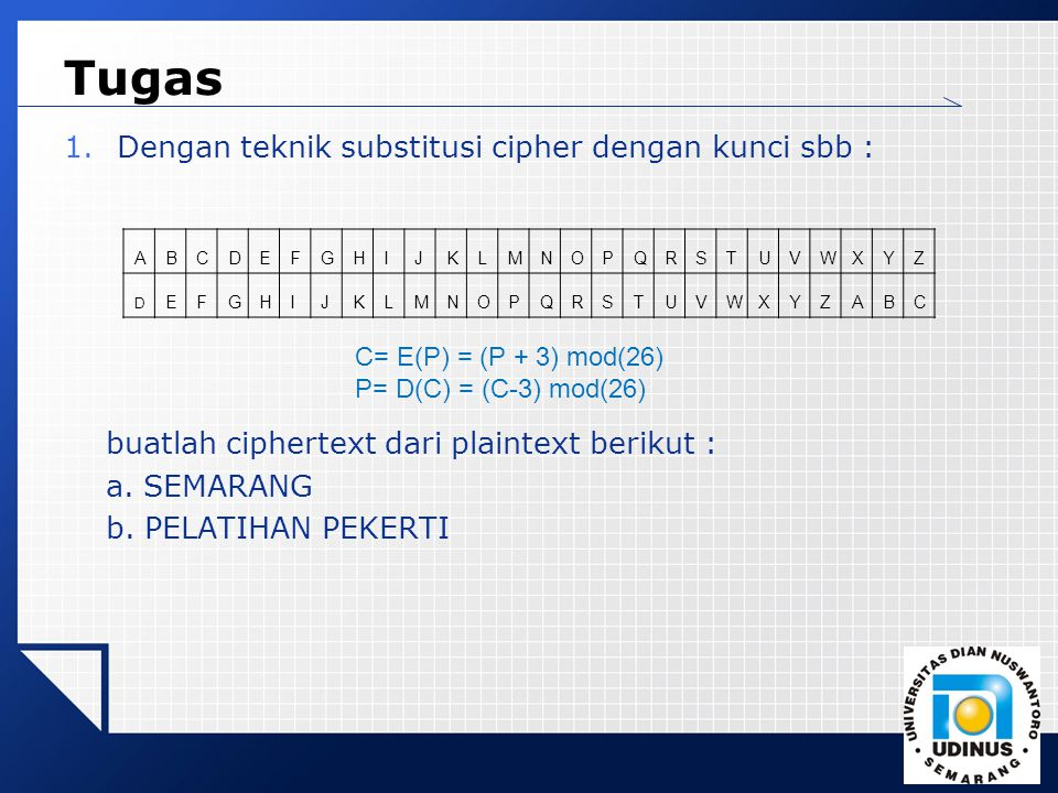 Tugas Dengan teknik substitusi cipher dengan kunci sbb :
