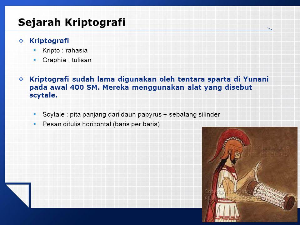 Sejarah Kriptografi Kriptografi Kripto : rahasia Graphia : tulisan