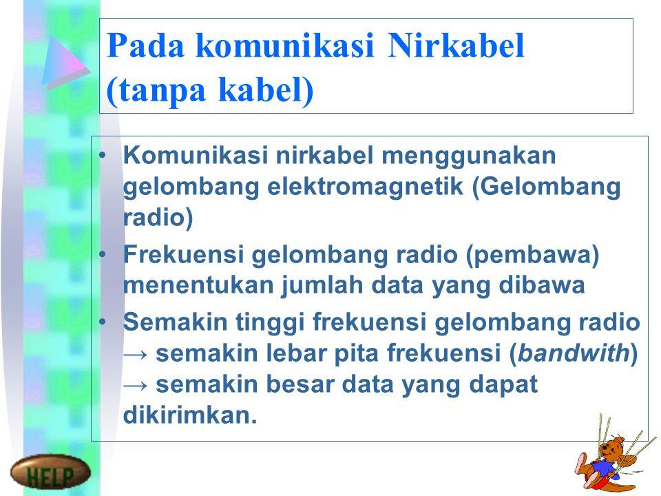 Pada komunikasi Nirkabel (tanpa kabel)