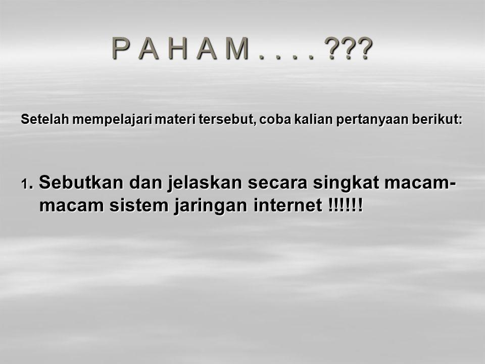 P A H A M . . . . Setelah mempelajari materi tersebut, coba kalian pertanyaan berikut: