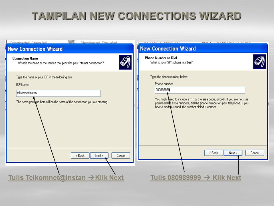TAMPILAN NEW CONNECTIONS WIZARD
