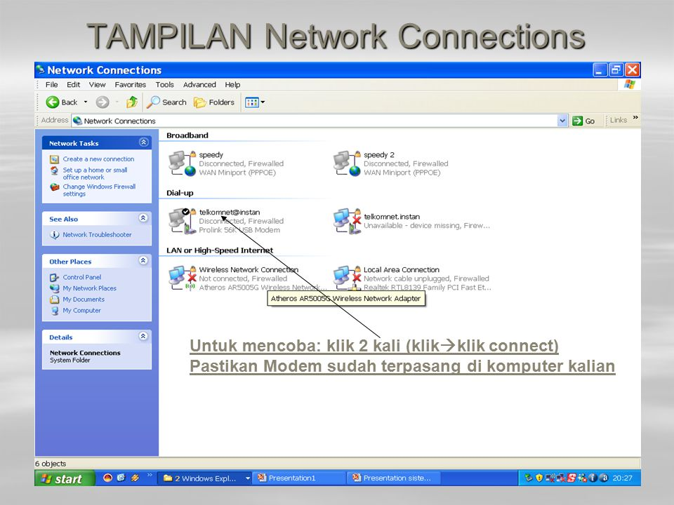 TAMPILAN Network Connections