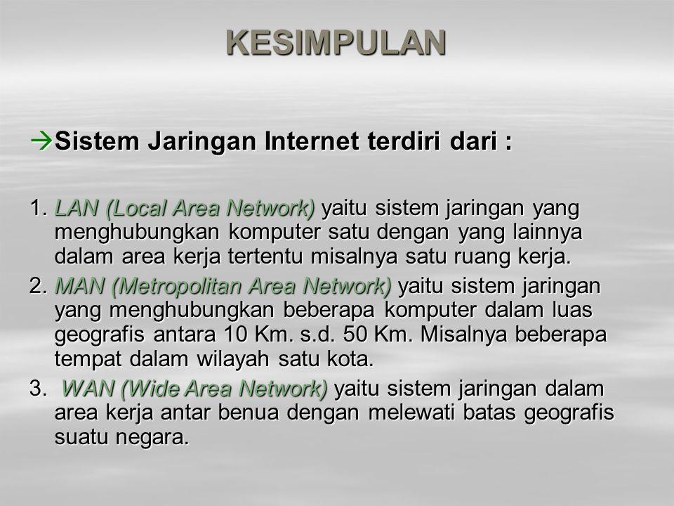 KESIMPULAN Sistem Jaringan Internet terdiri dari :