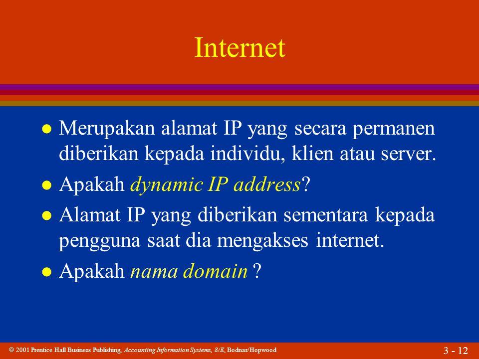 Internet Merupakan alamat IP yang secara permanen diberikan kepada individu, klien atau server. Apakah dynamic IP address