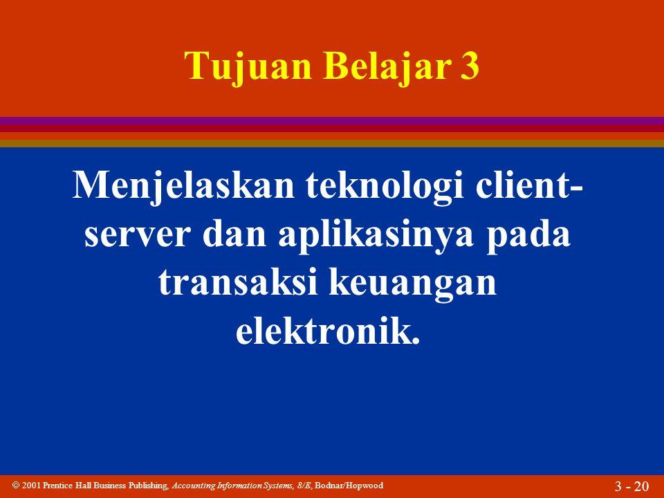 Tujuan Belajar 3 Menjelaskan teknologi client-server dan aplikasinya pada transaksi keuangan elektronik.