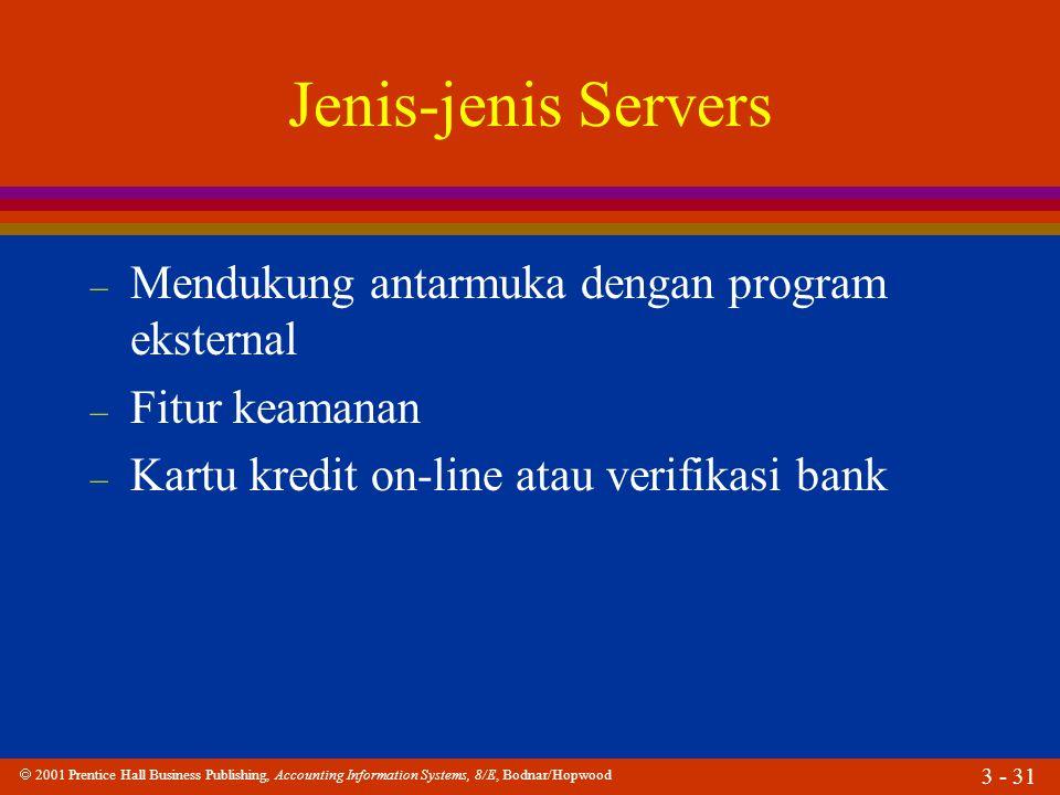 Jenis-jenis Servers Mendukung antarmuka dengan program eksternal