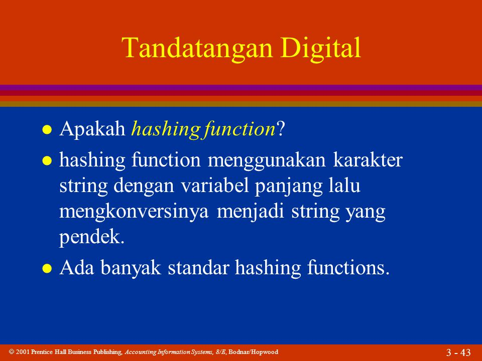 Tandatangan Digital Apakah hashing function