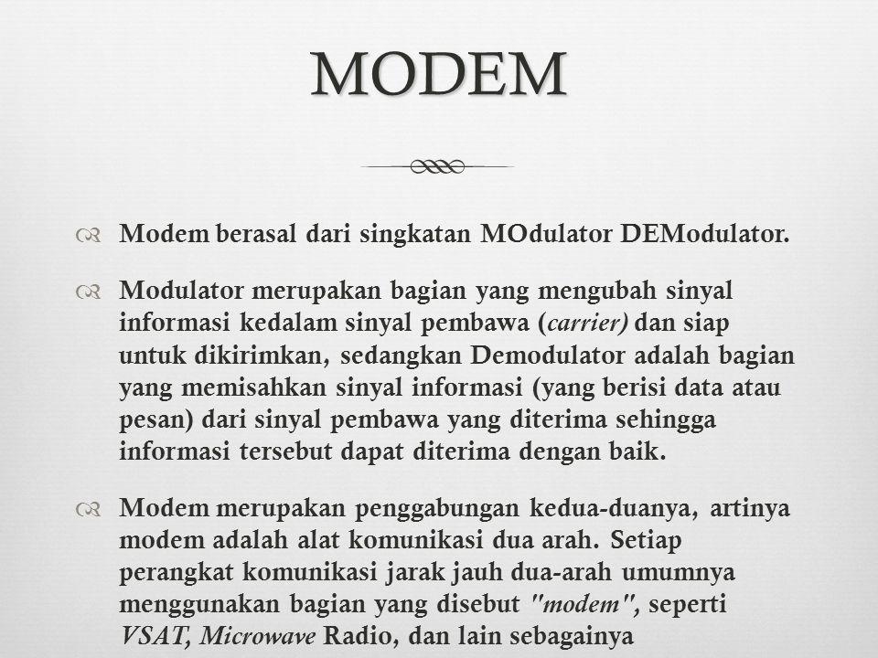 MODEM Modem berasal dari singkatan MOdulator DEModulator.