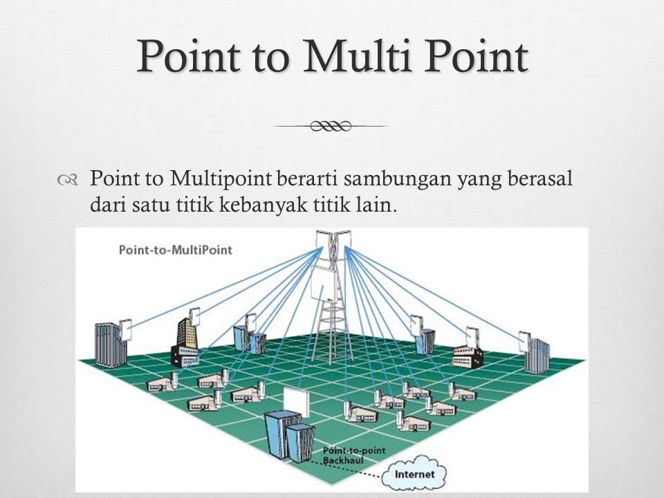 Point to Multi Point Point to Multipoint berarti sambungan yang berasal dari satu titik kebanyak titik lain.