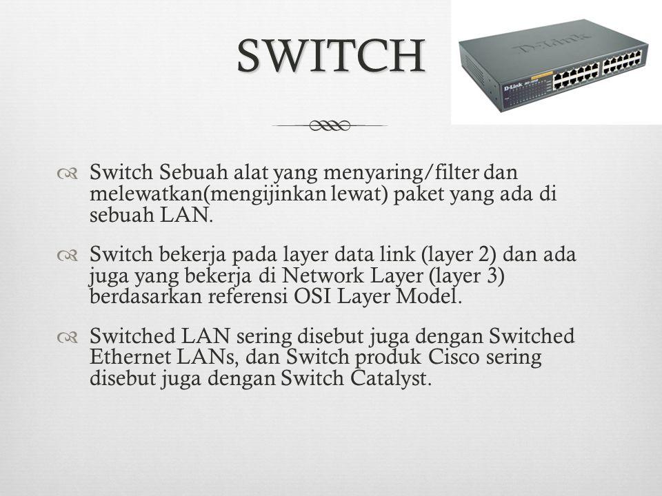 SWITCH Switch Sebuah alat yang menyaring/filter dan melewatkan(mengijinkan lewat) paket yang ada di sebuah LAN.