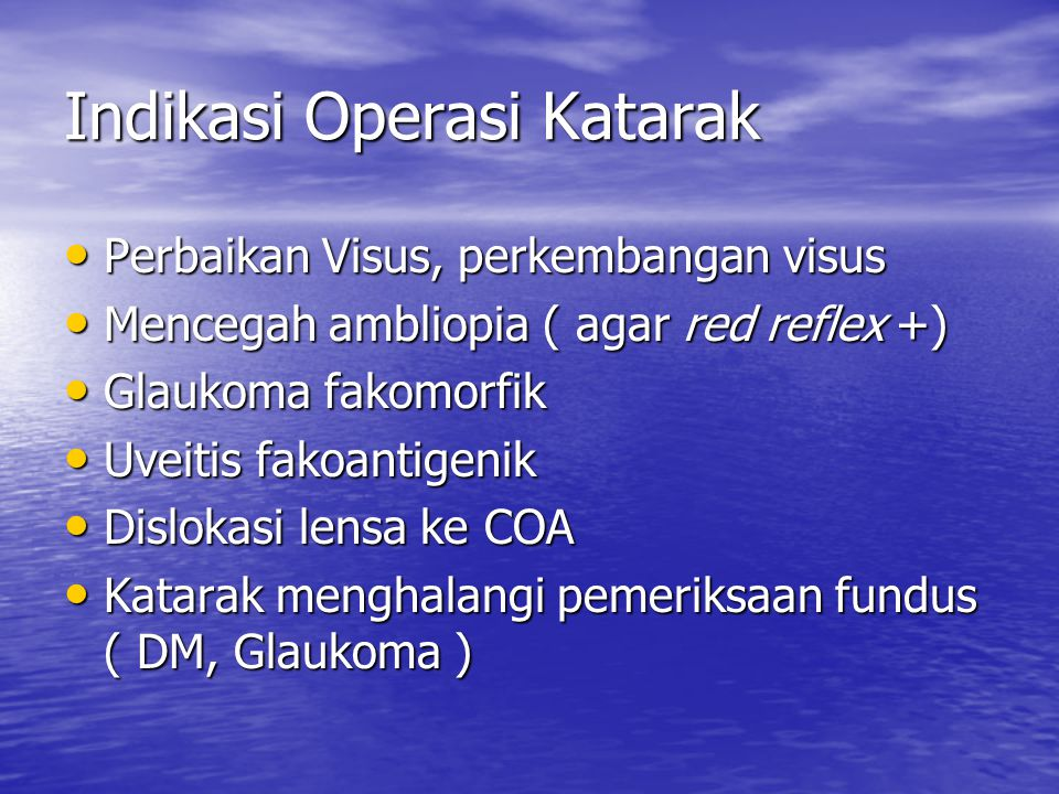 Indikasi Operasi Katarak