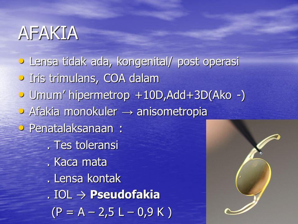 AFAKIA Lensa tidak ada, kongenital/ post operasi