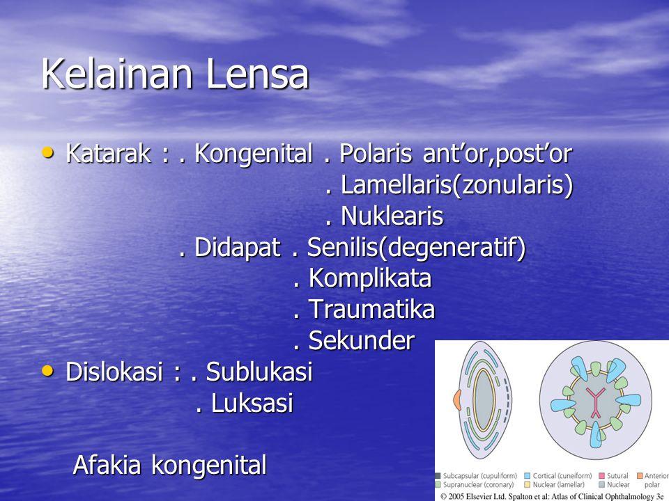 Kelainan Lensa Katarak : . Kongenital . Polaris ant'or,post'or