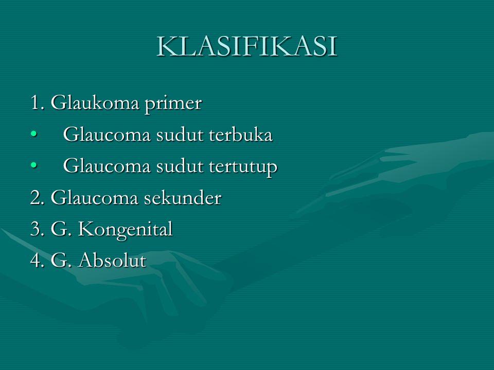 KLASIFIKASI 1. Glaukoma primer Glaucoma sudut terbuka