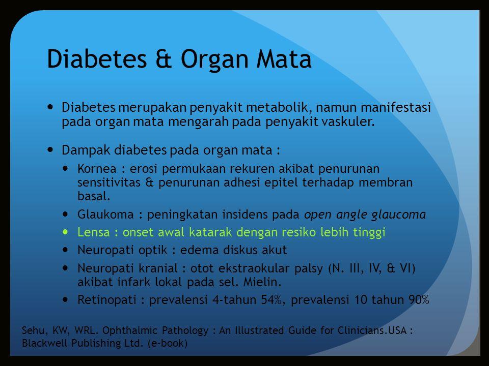 Diabetes & Organ Mata Diabetes merupakan penyakit metabolik, namun manifestasi pada organ mata mengarah pada penyakit vaskuler.