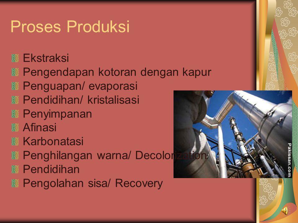 Proses Produksi Ekstraksi Pengendapan kotoran dengan kapur