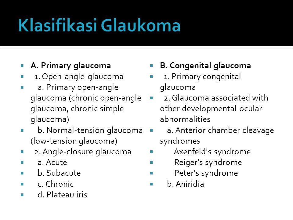 Klasifikasi Glaukoma A. Primary glaucoma B. Congenital glaucoma