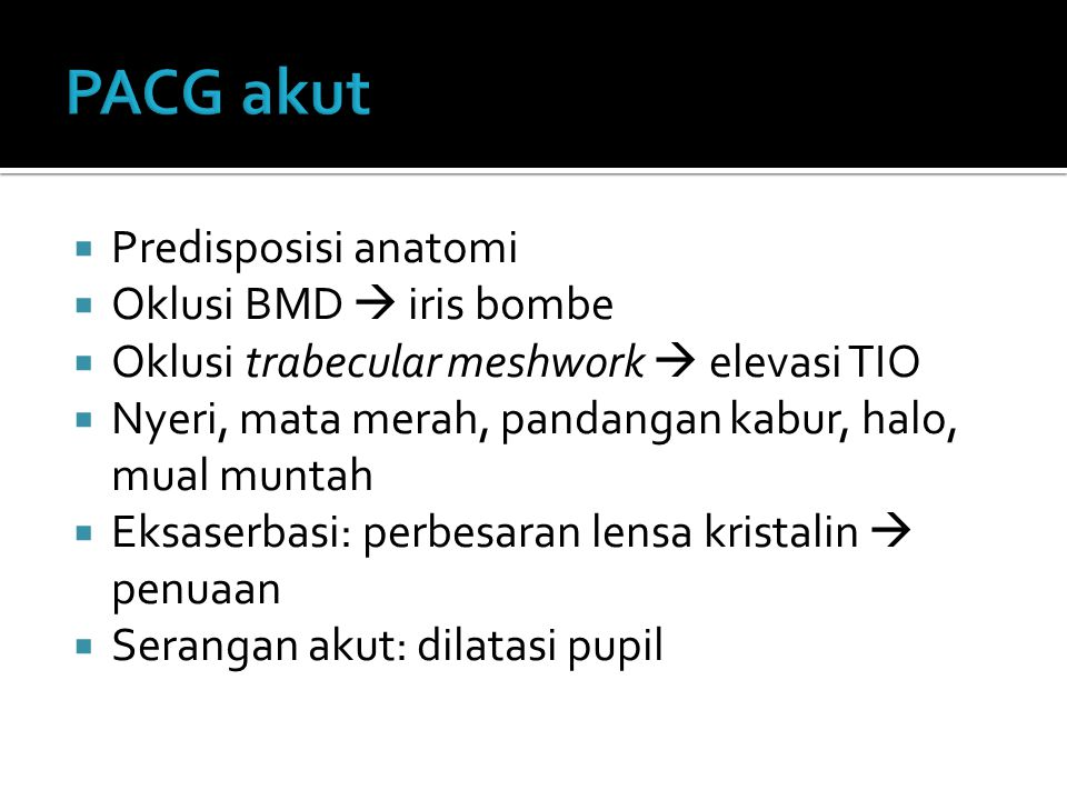 PACG akut Predisposisi anatomi Oklusi BMD  iris bombe