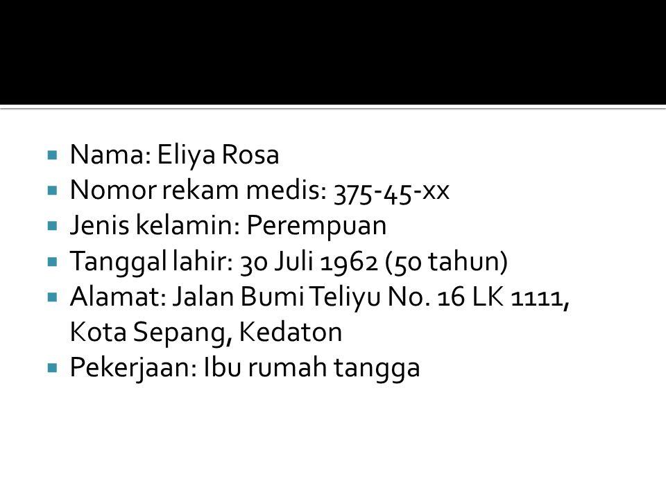 Nama: Eliya Rosa Nomor rekam medis: 375-45-xx. Jenis kelamin: Perempuan. Tanggal lahir: 30 Juli 1962 (50 tahun)