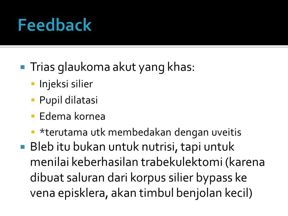 Feedback Trias glaukoma akut yang khas: