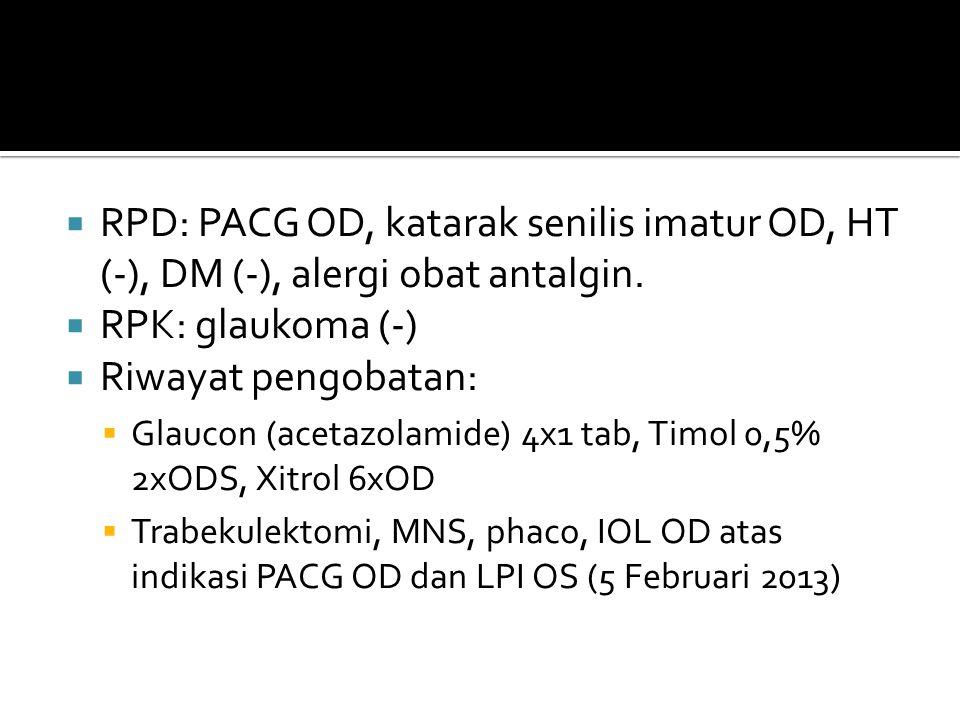RPD: PACG OD, katarak senilis imatur OD, HT (-), DM (-), alergi obat antalgin.