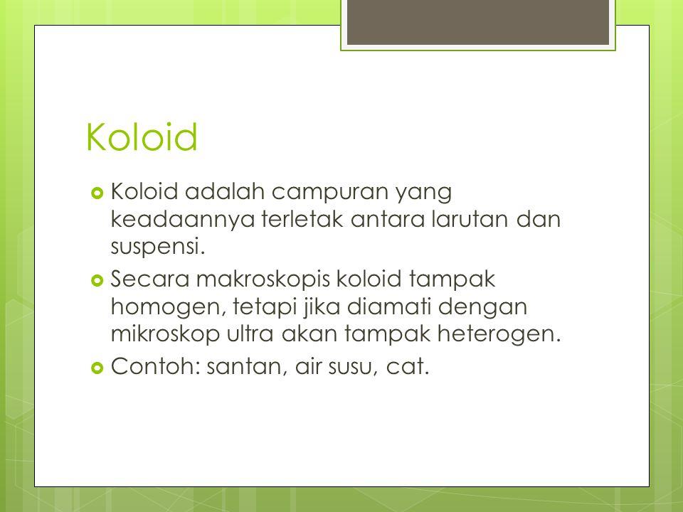 Koloid Koloid adalah campuran yang keadaannya terletak antara larutan dan suspensi.