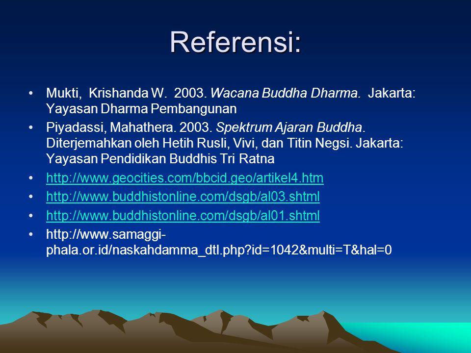 Referensi: Mukti, Krishanda W. 2003. Wacana Buddha Dharma. Jakarta: Yayasan Dharma Pembangunan.