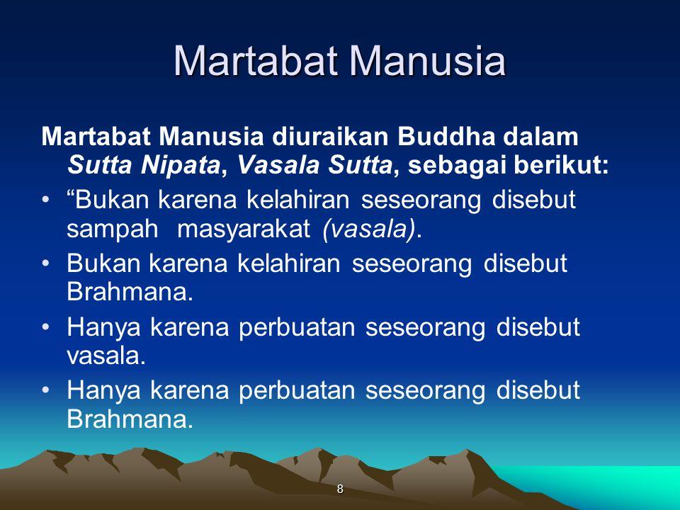 Martabat Manusia Martabat Manusia diuraikan Buddha dalam Sutta Nipata, Vasala Sutta, sebagai berikut: