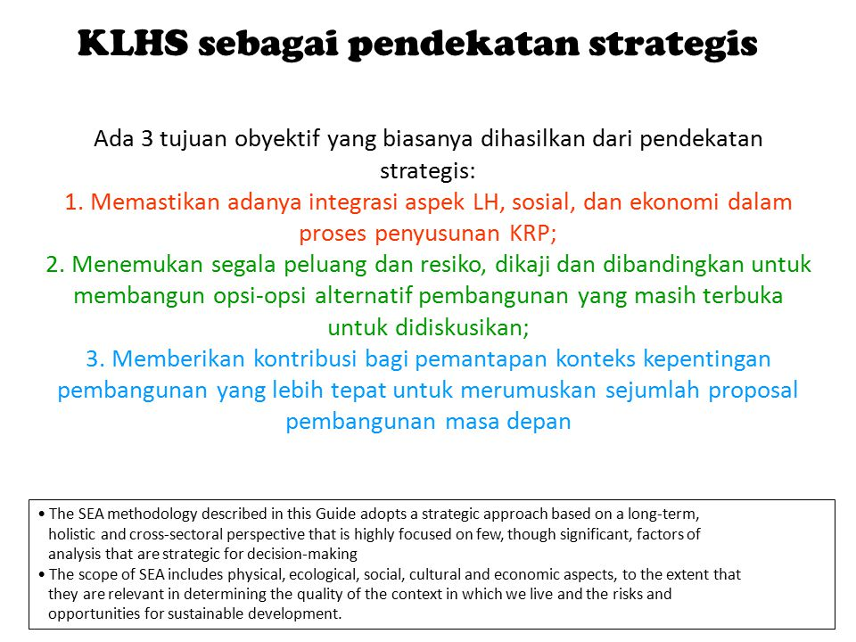 KLHS sebagai pendekatan strategis
