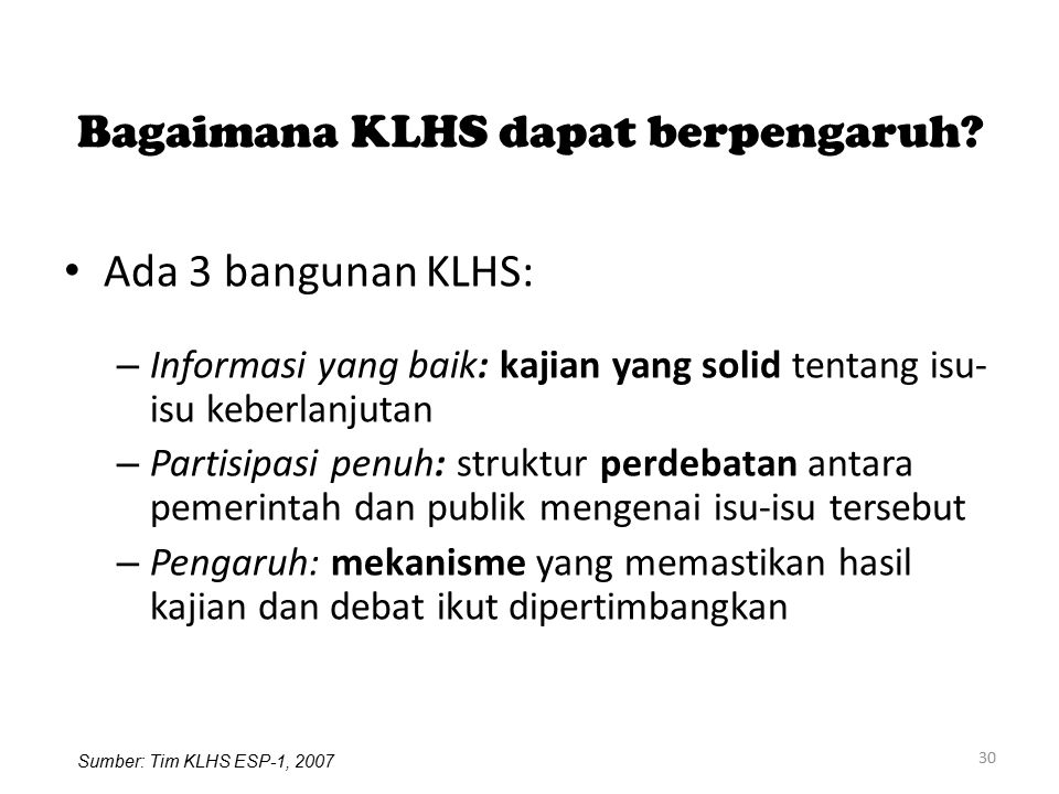 Bagaimana KLHS dapat berpengaruh