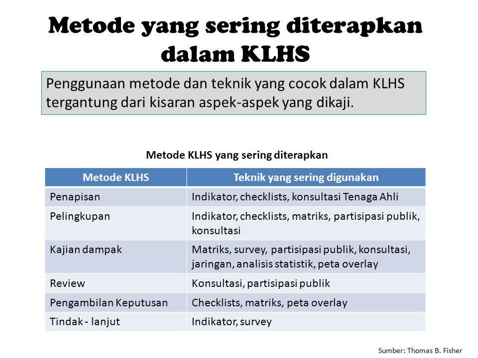 Metode KLHS yang sering diterapkan Teknik yang sering digunakan