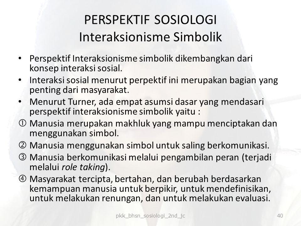 PERSPEKTIF SOSIOLOGI Interaksionisme Simbolik