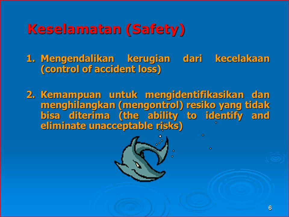 Keselamatan (Safety) Mengendalikan kerugian dari kecelakaan (control of accident loss)